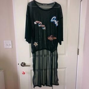 Zara Appliqué Sheer Dress